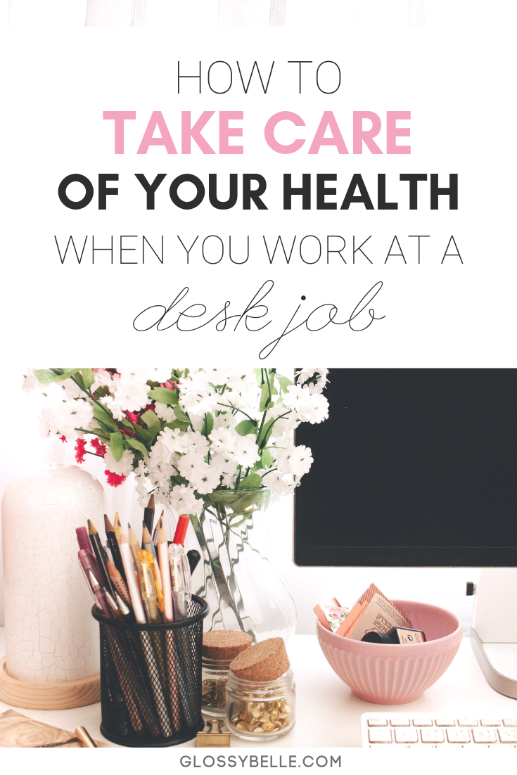 Working at an office job can be mentally exhausting. Here are some easy tips to take care of yourself and stay motivated, healthy and sane when you work at a 9 to 5 desk job. | self-care | wellness | mental health | motivation | posture | happiness | organization | cubicle job | ergonomic | exercise | healthy lifestyle | healthy habits | personal development | self-improvement | self-growth | work at a desk