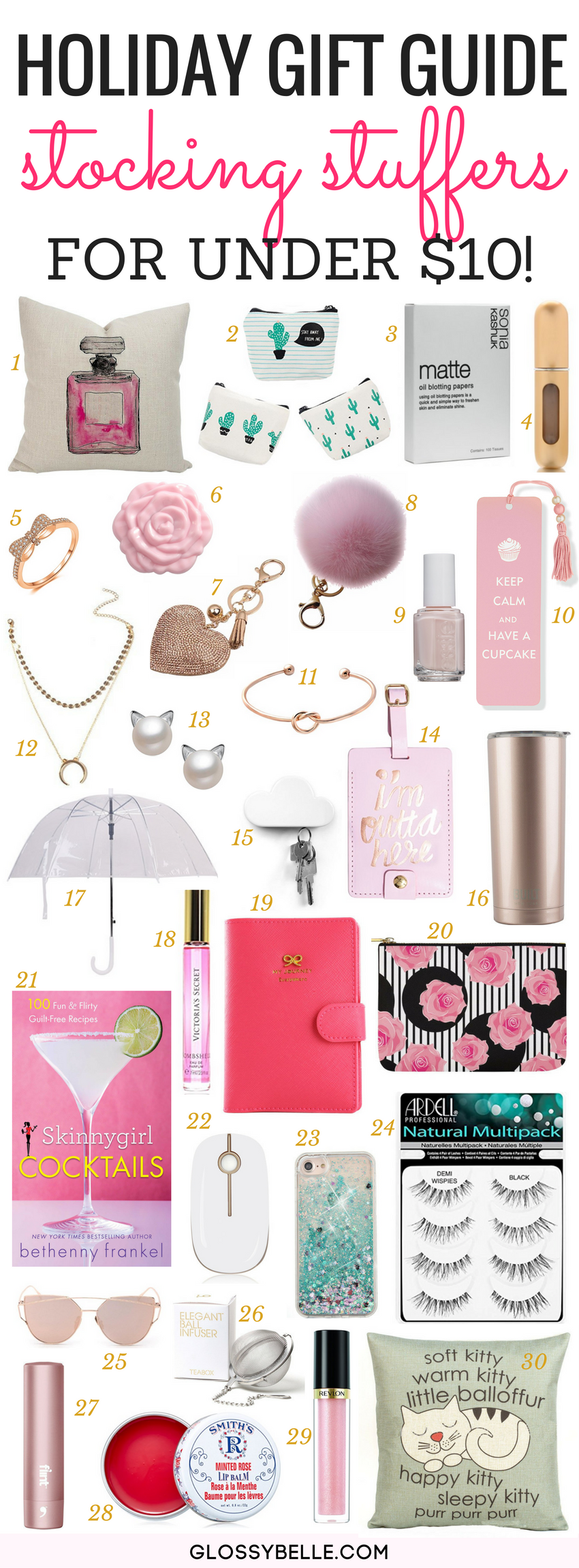 If you're looking to purchase a Christmas gift as a small token of appreciation, here are over 30 stocking stuffer ideas and they're all $10 or less! #giftguide #christmasgifts #giftideas #giftsforher #holidaygifts #stockingstuffers