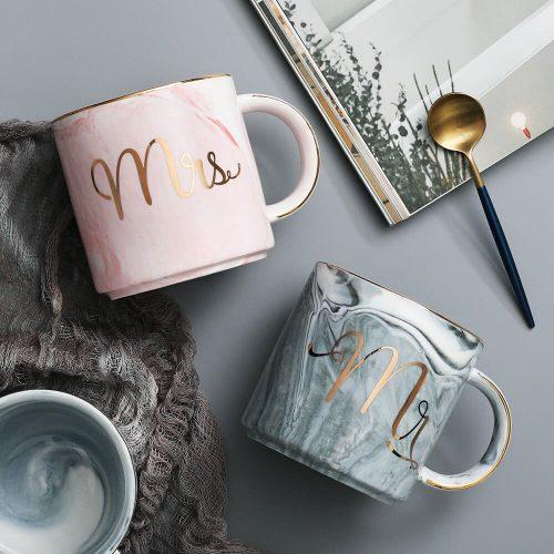 mr and mrs matching ceramic mug set