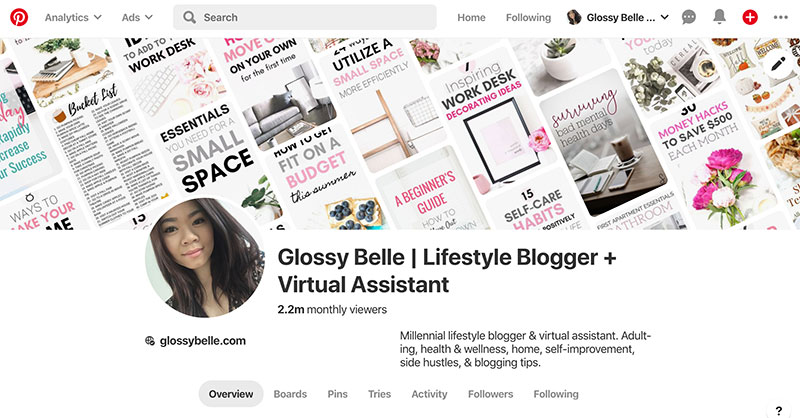 pinterest stats with 2.2 million monthly viewers