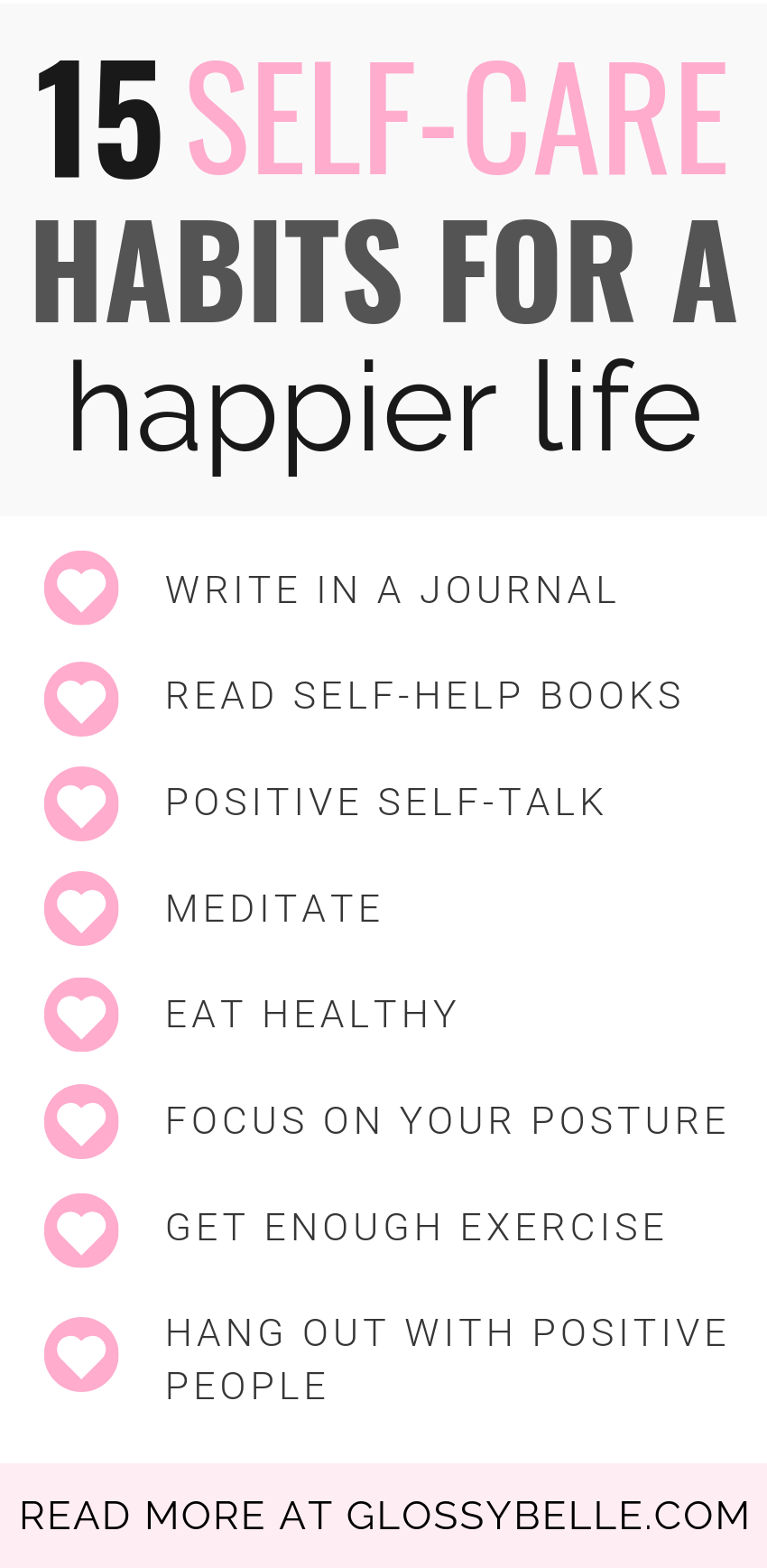 Looking to recharge, improve your happiness, reduce your anxiety and stress levels, & be as productive as possible? Here are 15 simple self-care habits & practices to incorporate into your daily life that will inspire joy and happiness every day and change your life for the better! | self-love | inspiration | motivation | how to be happy | mental health | meditation | live your best life | healthy living | personal development | self improvement | growth mindset | healthy habits | live better