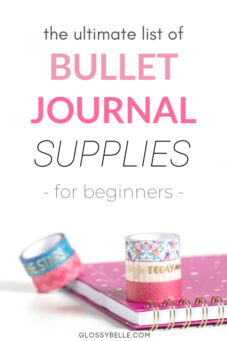 Looking to start your very own bullet journal to improve your productivity, set goals, track your habits, and get creative? This post covers the essential bullet journal supplies and tools every beginner needs in their starter kit. I include all of the must-have dot grid journals, pens, highlighters, washi tape, stencils, stickers, stamps, sticky notes, and more! #bulletjournal #bujo #bulletjournaljunkies #bulletjournalsupplies #stationary #bujosupplies #bulletjournalcommunity