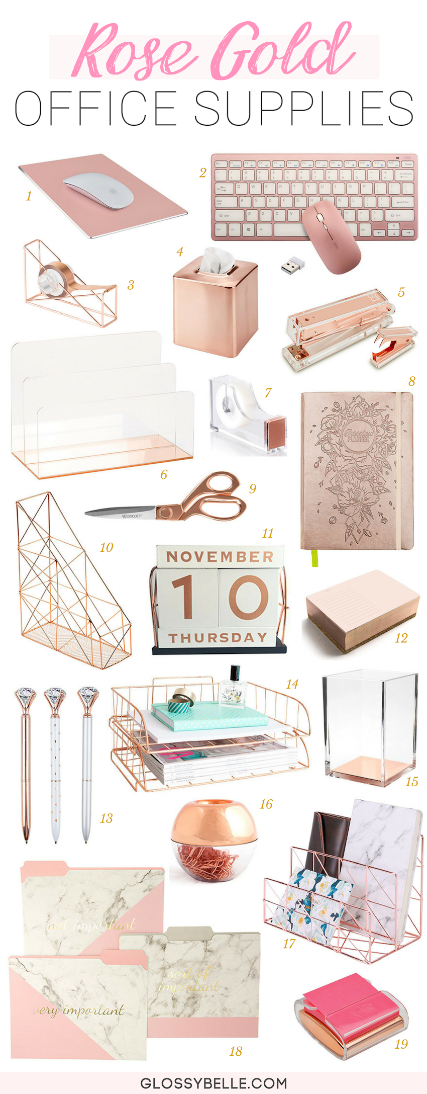 Looking to add some glitz and glam to your home office or your work desk? You'll definitely want to check out my ultimate list of rose gold office supplies & desk accessories to create a feminine work space.   glamorous   acrylic   pretty things   rose gold supplies   rose gold desk decor   work desk decor   cubicle   girlboss   inspiration #workspace #homeoffice #decorideas #officedecor #rosegold #officesupplies #desk #organization