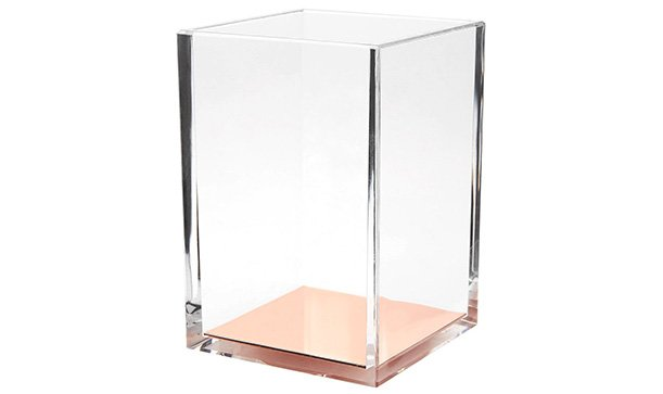 acrylic pen holder with rose gold bottom