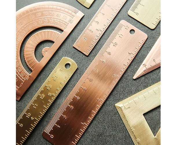 rose gold rule and protractor set