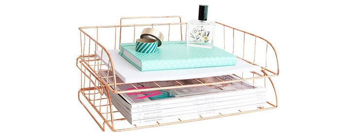 rose gold stackable letter tray
