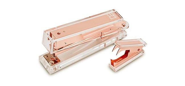 rose gold stapler and stapler remover set