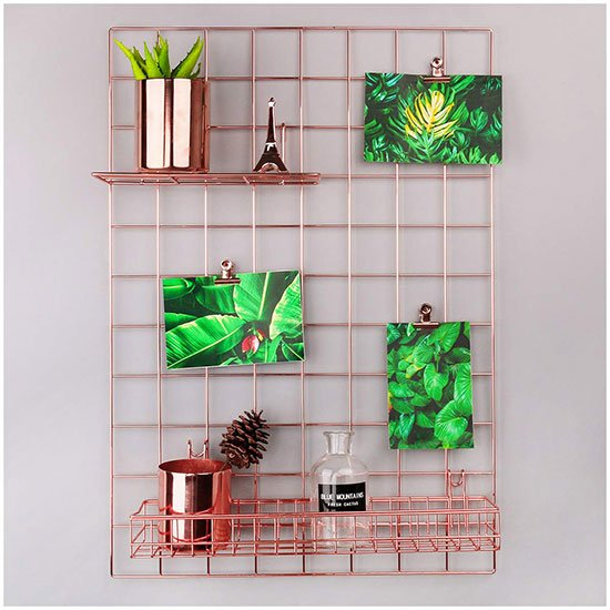 rose gold wall grid panel