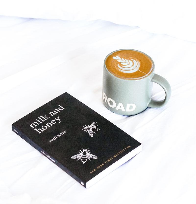 milk and honey book with a mug